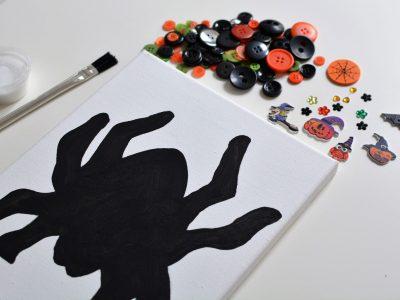 Halloween Spider Canvas Button Craft Kit