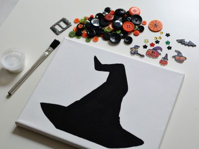 Halloween Witches Hat Canvas Button Craft Kit