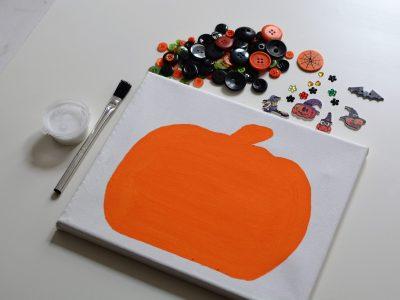 Halloween Pumpkin Canvas Button Craft Kit