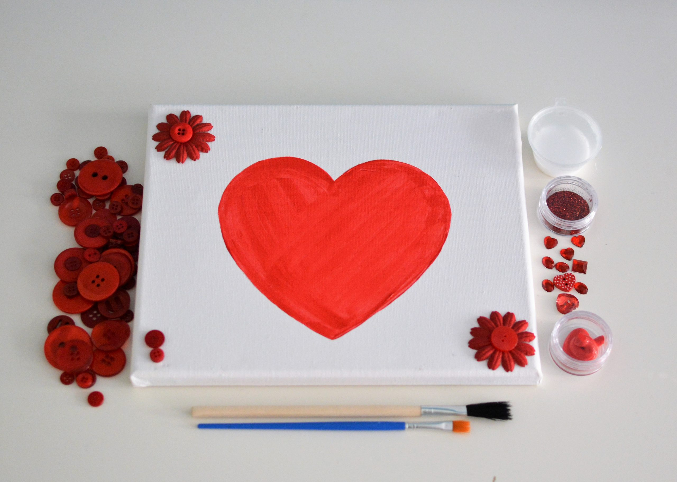 Love Heart Button Canvas Craft Kit